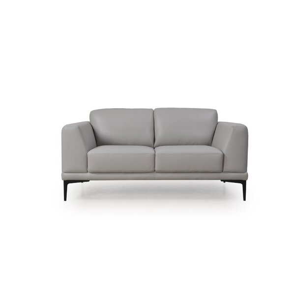 Joachim Leather Loveseat by Orren Ellis