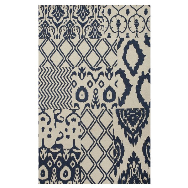 Hinton Indigo Patchwork Hand-Woven Blue Area Rug by Bungalow Rose