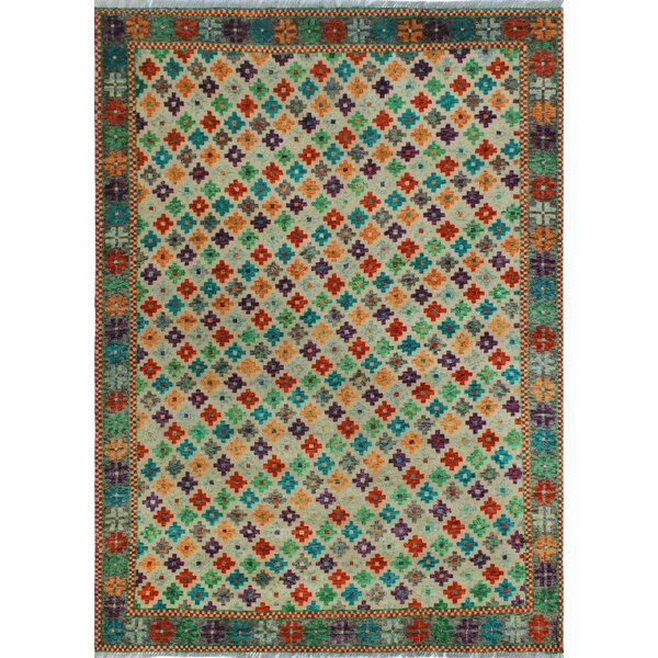 One-of-a-Kind Millender Victoria Hand-Knotted Wool Blue/Beige Are Rug by Bloomsbury Market