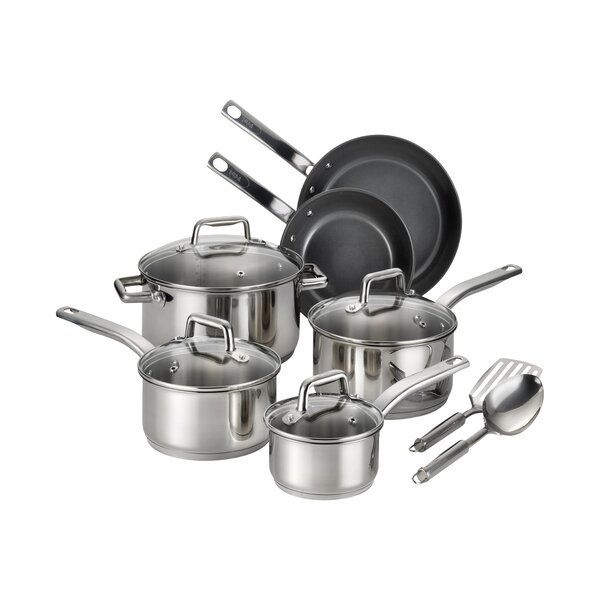 Precision 12 Piece Non-Stick Stainless Steel Cookware Set by T-fal