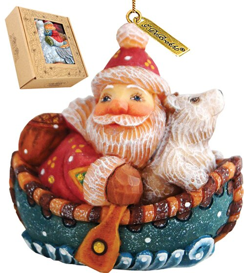 Fifield Boater Santa Figurine Ornament by The Holi