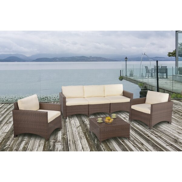 Ashlyn 4 Piece Rattan Sectional Seating Group with Cushions