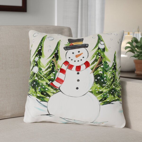 Jolly Snowman Throw Pillow by The Holiday Aisle