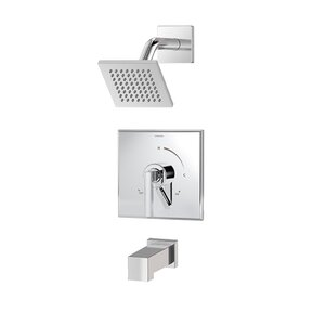 Duro 1-Handle Tub and Shower Valve Faucet Trim Kit with Square Showerhead and Lever Handle