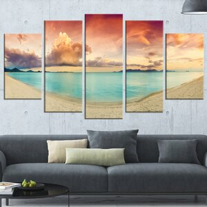 'Tropical Colorful Sunset with Pond' 5 Piece Graphic Art on Wrapped Canvas Set by Design Art