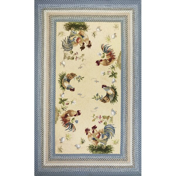 Zoey Blue/Beige Rooster Pen Area Rug by August Grove