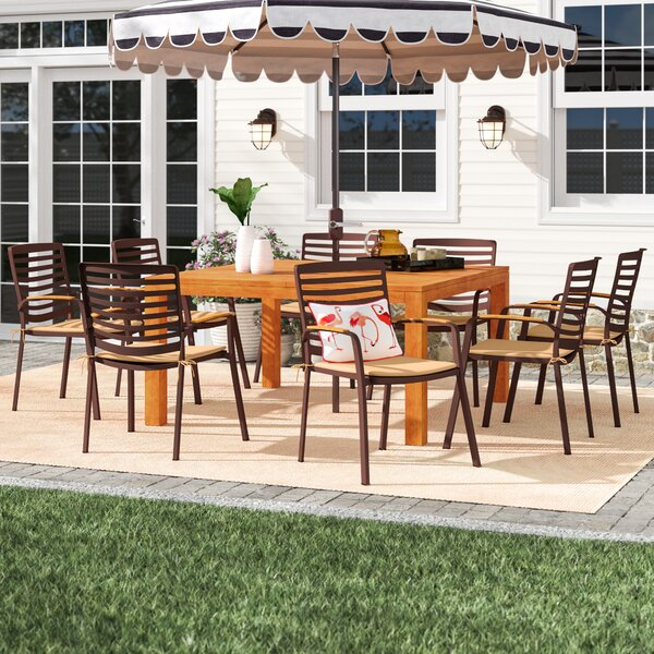 Elsmere 9 Piece Teak Dining Set with Cushions by Beachcrest Home