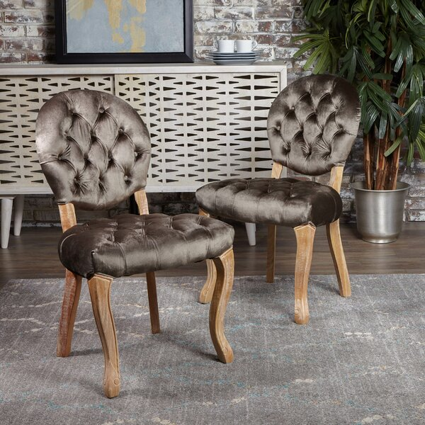 Meiners Tufted Velvet Upholstered King Louis Back Side Chair (Set Of 2) By Greyleigh