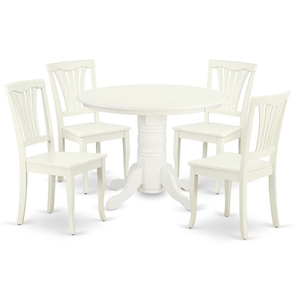 Kuster 5 Piece Solid Wood Dining Set by August Grove