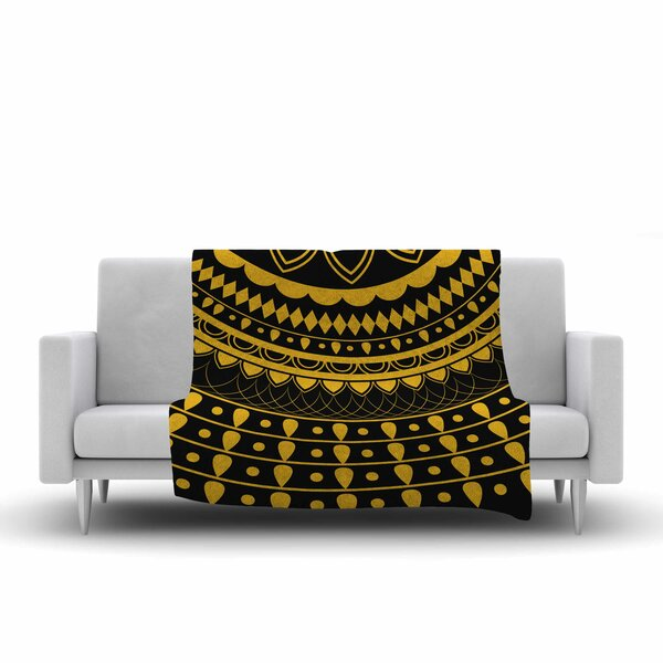 Famenxt Golden Vibes Mandala Digital Fleece Throw by East Urban Home