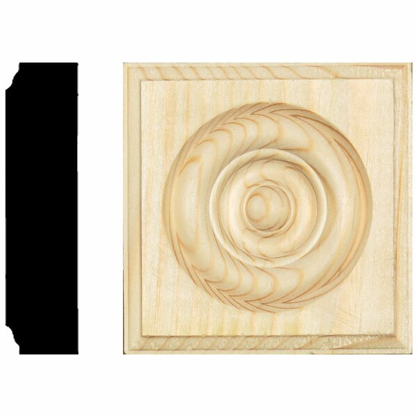 7/8 in. x 3-1/2 in. x 3-1/2 in. Pine Rosette Block Moulding by Manor House