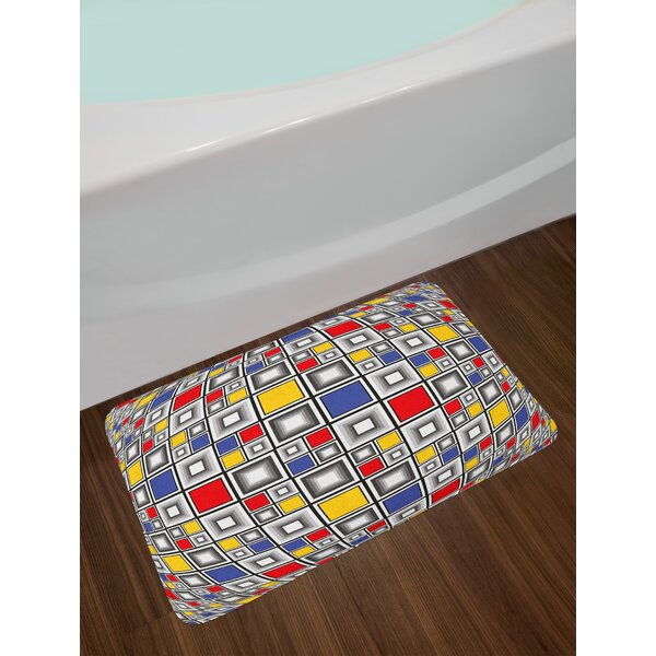Geometric Theme Abstract Art Colorful Mosaic of Squares Pattern Non-Slip Plush Bath Rug by East Urban Home