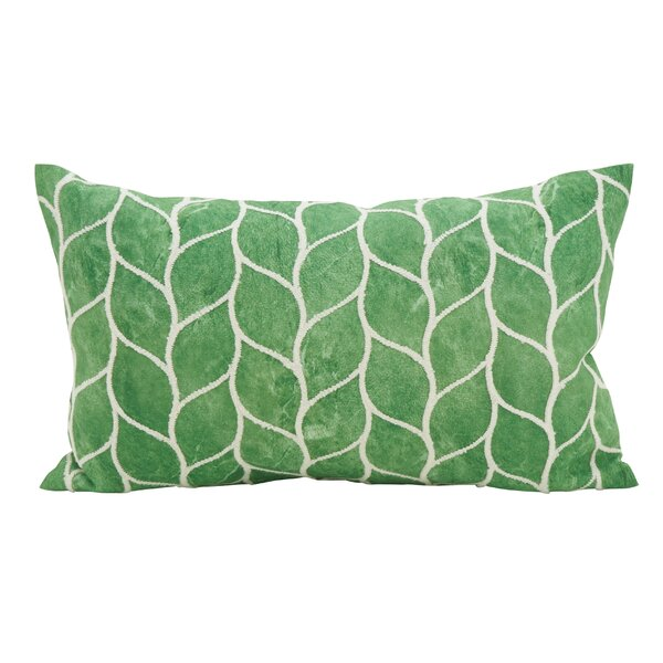 Millstone Embroidered Leaf Down Filled Lumbar Pillow by Bay Isle Home
