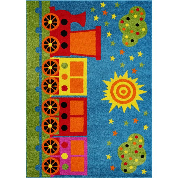 Kindig Toy Train Blue/Green Area Rug by Zoomie Kids