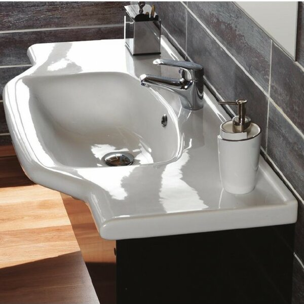 Yeni Klasik Ceramic Rectangular Drop-In Bathroom Sink with Overflow by CeraStyle by Nameeks