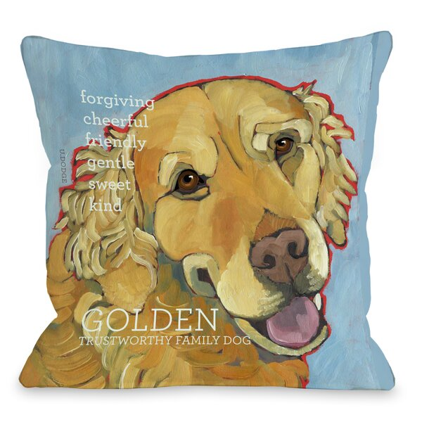 Doggy Décor Golden Retriever 1 Throw Pillow by One Bella Casa