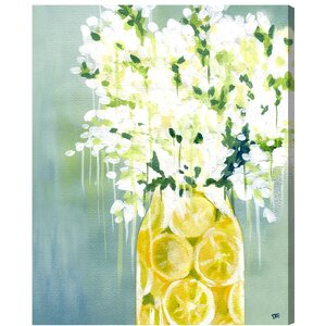 Flowers and Lemons Painting Print on Wrapped Canvas by Lark Manor