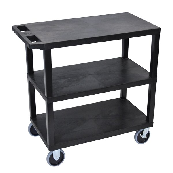 E Series Heavy Duty Utility Cart with 3 Flat Shelves by Luxor