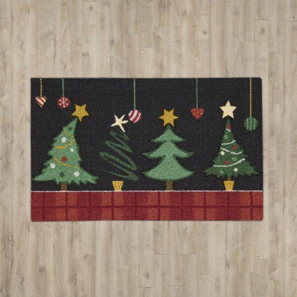 Hanson Christmas Tree Black/Green Area Rug by Charlton Home