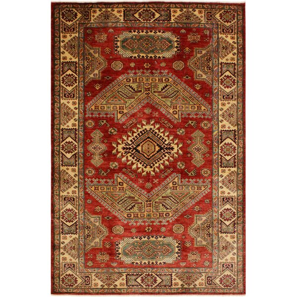 Gianna One-of-a-Kind Gianna Super Kazak Hand-Knotted Wool Red/Light Gold Area Rug by Astoria Grand