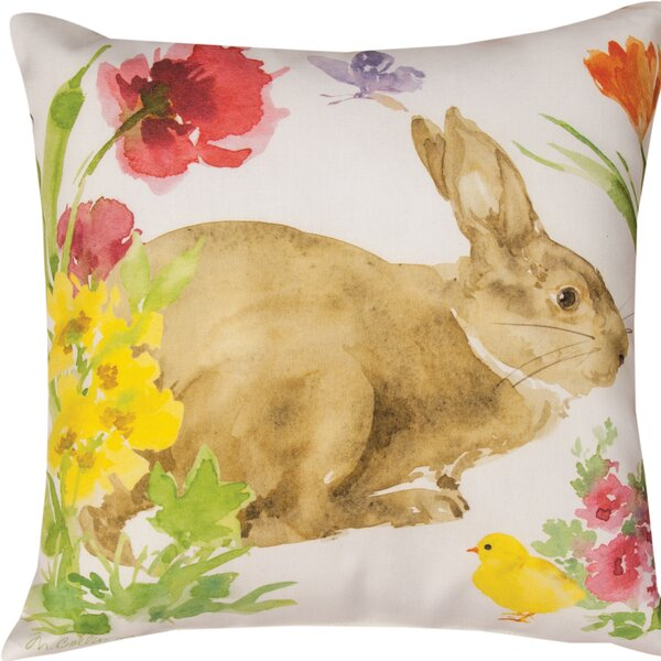 Collins Garden Bunny & Chick Throw Pillow by Manual Woodworkers & Weavers