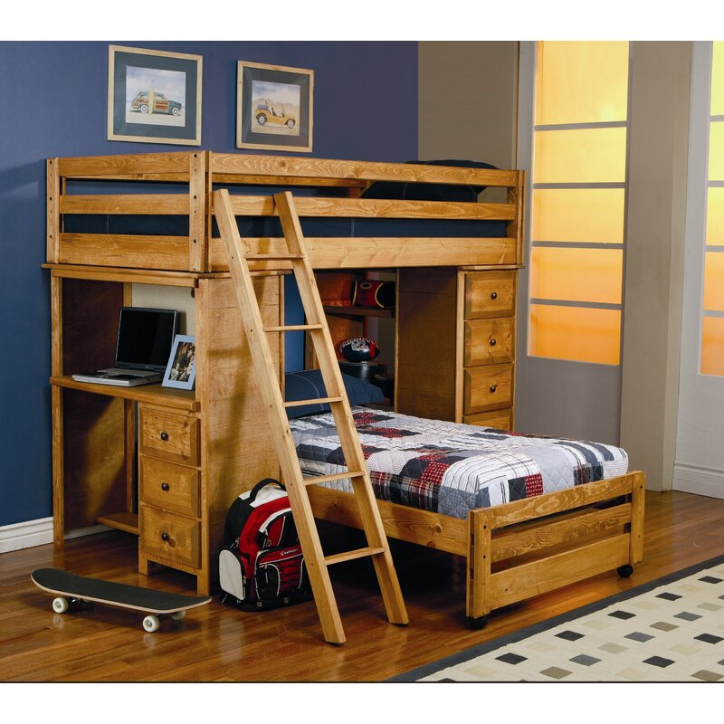 Wildon Home® Enchanted Twin Over Twin L-Shaped Bunk Bed with ...