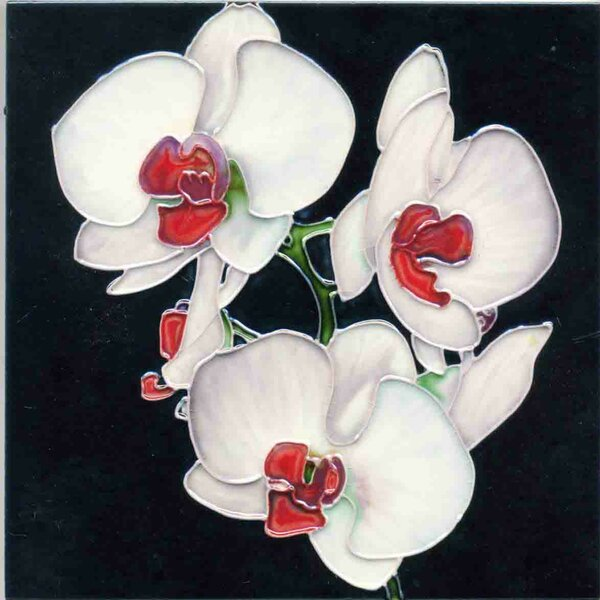 3 White Orchids Tile Wall Decor by Continental Art Center