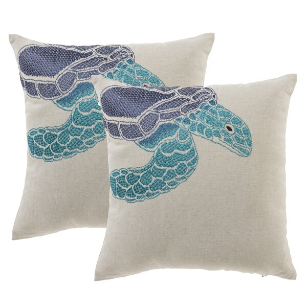 Sea Turtle Throw Pillow (Set of 2) by 14 Karat Home Inc.