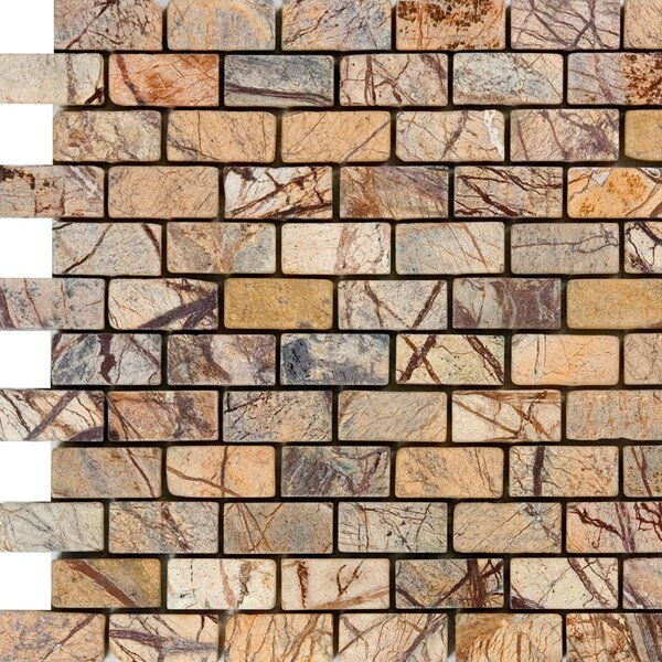 1 x 2 Marble Mosaic Tile in Rain Forest Brown by Epoch Architectural Surfaces