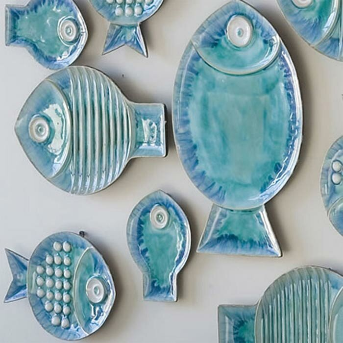 Beachcrest Home Ceramic Blue Fish Plate Wall Décor Reviews