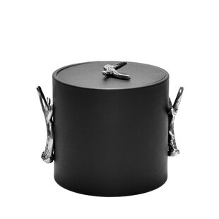 3 Qt Black Italia Leatherette Ice Bucket With Antlers Handle