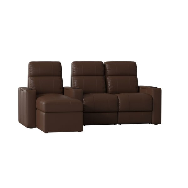 Upholstered Leather Home Theater Sofa (Row Of 3) By Red Barrel Studio