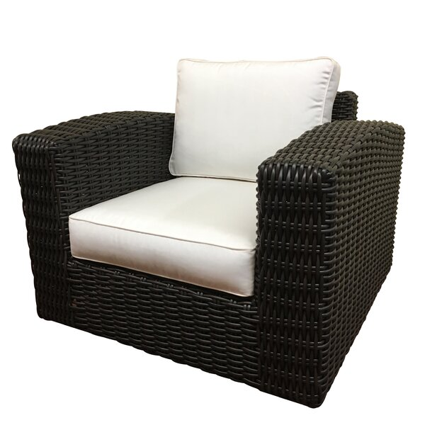 Monaco Outdoor Wicker Swivel Arm Chair with Cushion by ElanaMar Designs