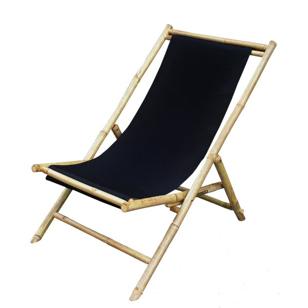 Atalya Folding Bamboo Relax Sling Beach Chair by Bayou Breeze Bayou Breeze