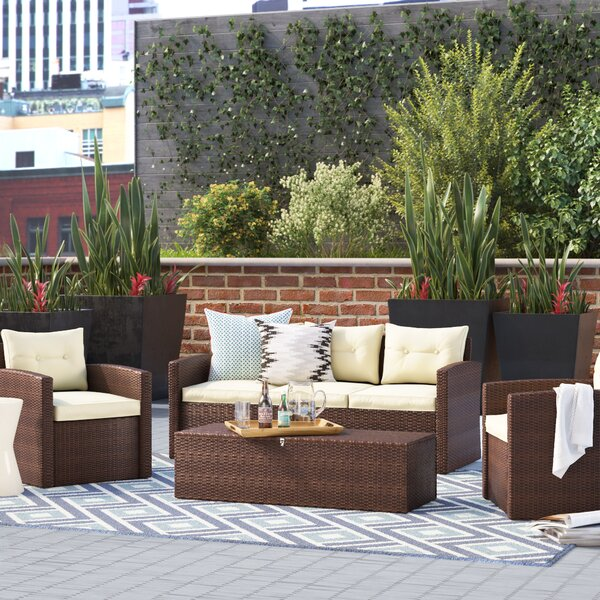 Sanor 4 Piece Sofa Set with Cushions by Wrought St