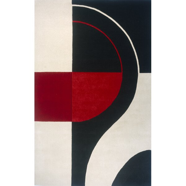 Miller Hand-Tufted Black/Red Area Rug by Wade Logan