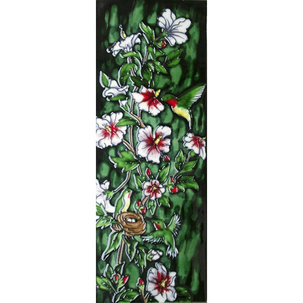 6 x 16 Ceramic Hummingbirds and the Flowering Vine (Vertical) Decorative Mural Tile by Continental Art Center