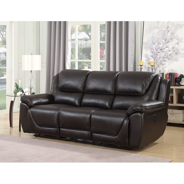 Cheap But Quality Rish Leather Reclining Sofa by Latitude Run by Latitude Run