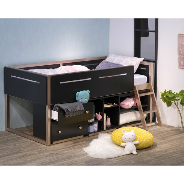 Gallardo Twin Low Loft Bed with Desk Shelves and 2 Drawers by Isabelle & Max Isabelle & Max™