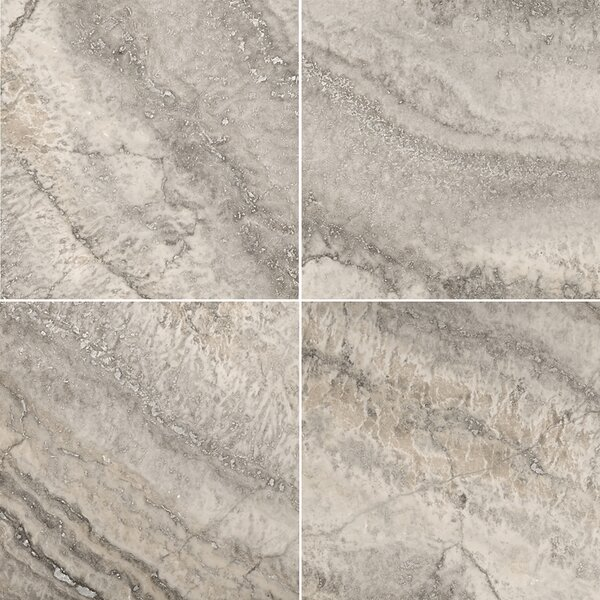 Travertine 12 x 12 Filled and Honed Field Tile in Silver by Emser Tile