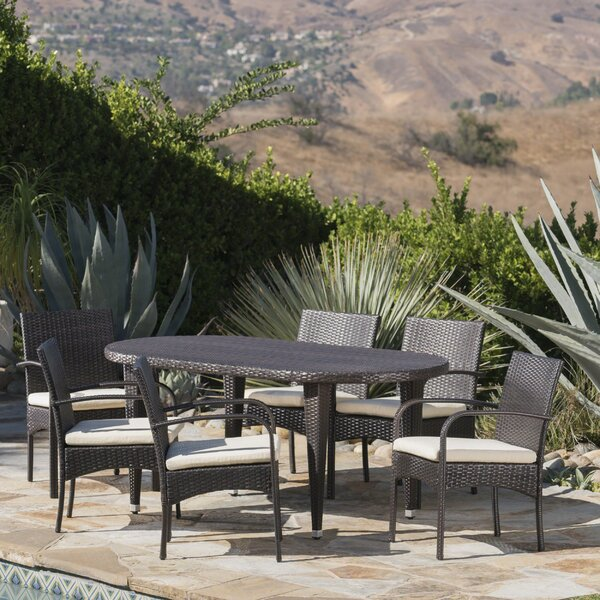 Moloney Outdoor 7 Piece Dining Set with Cushions by Latitude Run