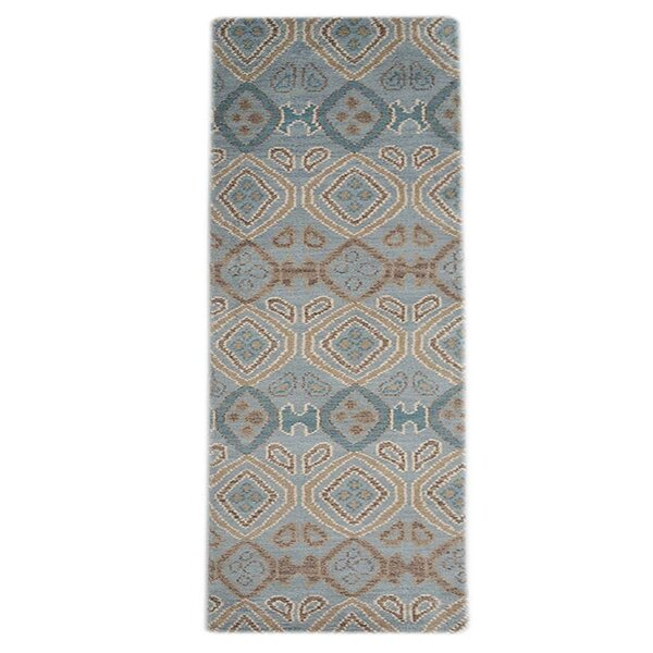 Rocky Hand-Knotted Wool Light Blue/Cream Area Rug by Foundry Select