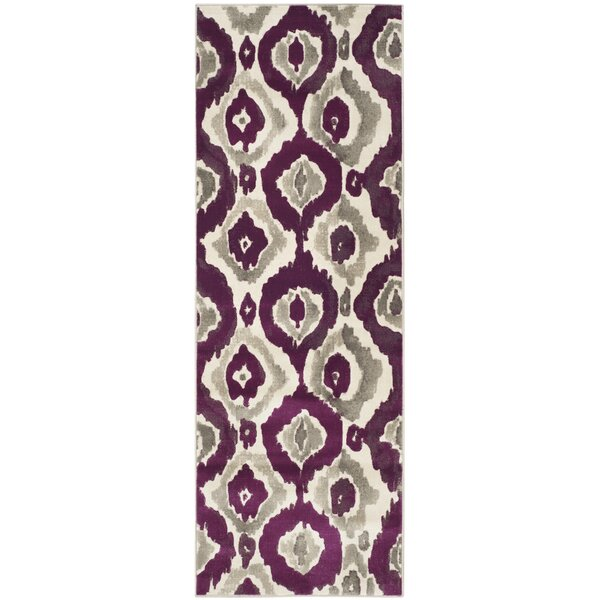 Deasia Ivory/Purple Area Rug by World Menagerie