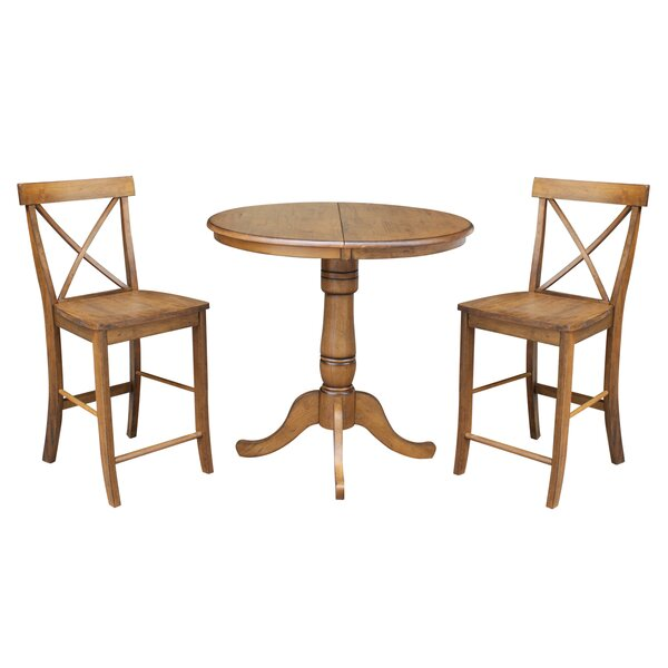 Yacoubou Extendable Counter Height 3 Piece Pub Table Set by August Grove