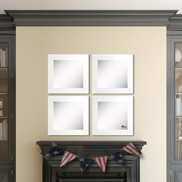 Waite White Satin Wide Wall Mirror (Set of 4) by Ebern Designs