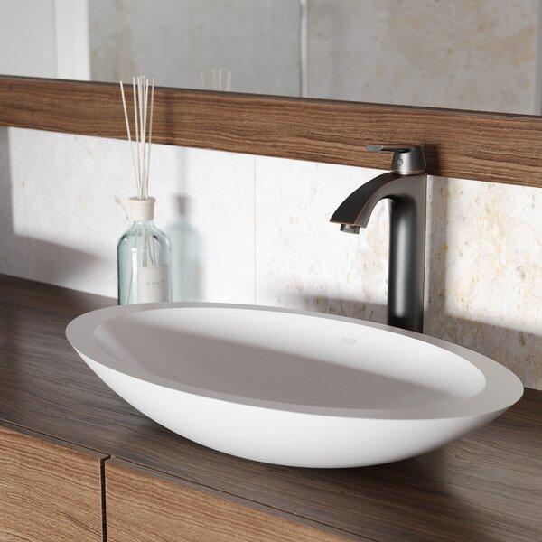 VIGO Matte Stone Oval Vessel Bathroom Sink with Faucet by VIGO