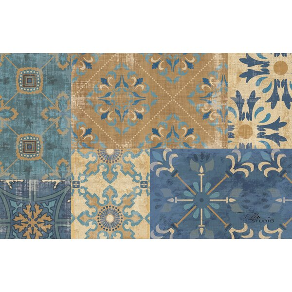 Moroccan Patchwork Blue Rug by Manual Woodworkers & Weavers