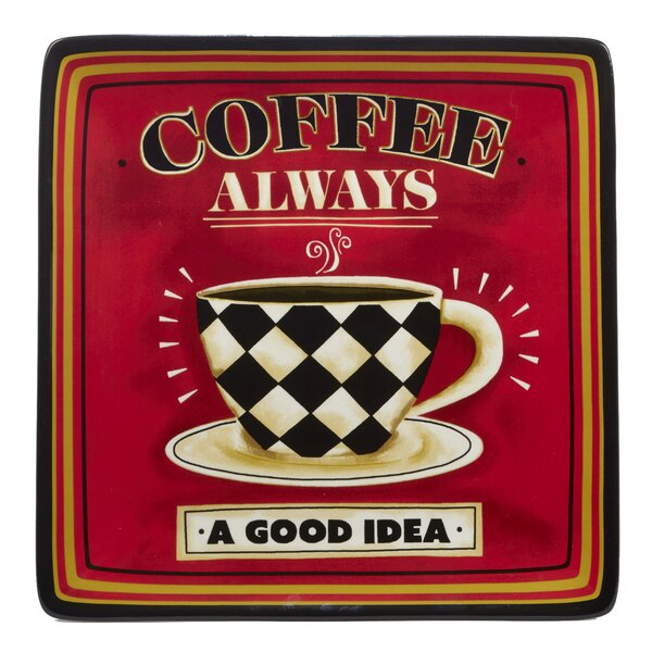 Styers Coffee Always Square Platter by Red Barrel Studio