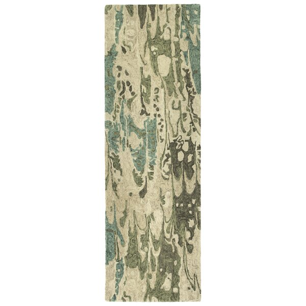 Bargas Hand Tufted Wool Sea Foam/Beige Area Rug