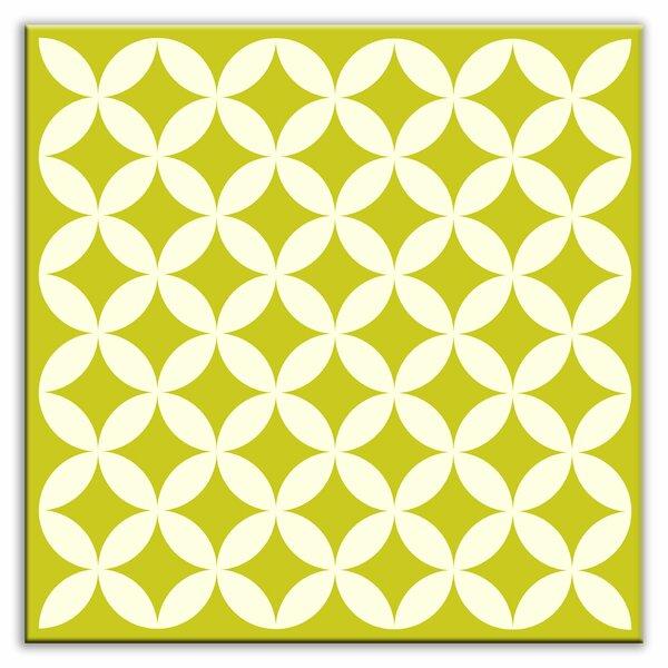 Folksy Love 4-1/4 x 4-1/4 Satin Decorative Tile in Needle Point Avocado by Oscar & Izzy